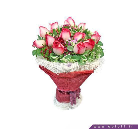 رز سفید قرمز- دسته گل پانکا - Pancha | گل آف