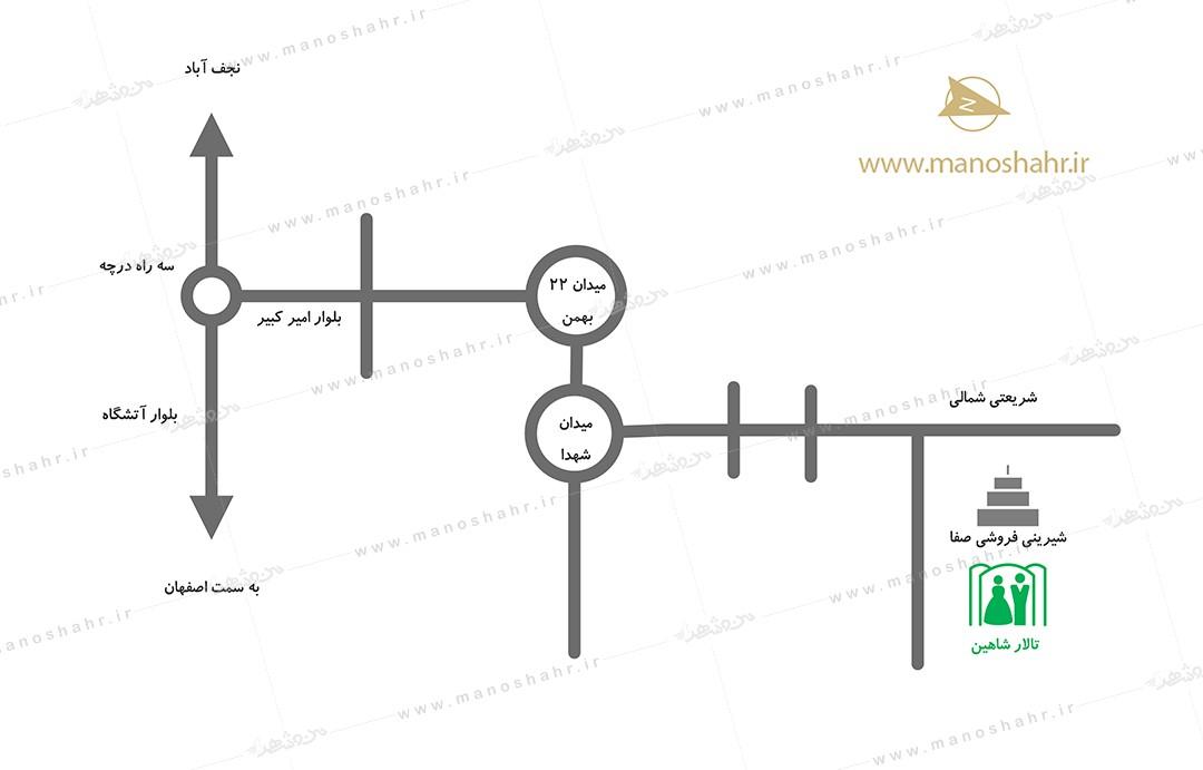 کروکی تالار شاهین خمینی شهر
